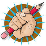 Punching Fist and Pencil Sign. Royalty Free Stock Photography