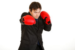 Punching furious businessman with boxing gloves Royalty Free Stock Image