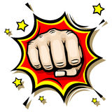 Punching hand with clenched fist vector illustration. Strength and anger revolt illustration Royalty Free Stock Image