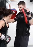 Punching pads work out stock photos