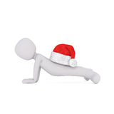 Punching or reaching out figure in santa hat Stock Photo