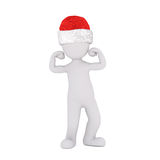 Punching or reaching out figure in santa hat Royalty Free Stock Image