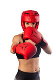 Punching with red boxing gloves, fight concept Royalty Free Stock Photos