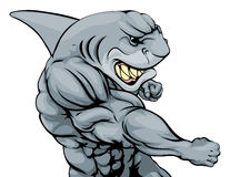 Punching shark mascot Royalty Free Stock Image