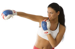 Punching woman Royalty Free Stock Images