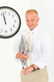 Punctual businessman senior handsome portrait Stock Image