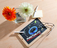Punctuality concept. A punctuality concept on chalkboard royalty free stock photography