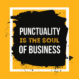 Punctuality is the soul of business. Minimalistic text typography on grunge background can be used as poster, t-shirt. Design stock image