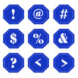 Punctuation Marks on Blue Signs Stock Images
