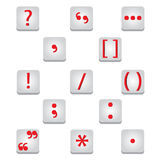 Punctuation marks icons. Punctuation marks Education and red symbols written royalty free illustration