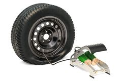 Puncture car wheel with high pressure air foot pump, 3D renderin. G isolated on white background Royalty Free Stock Photo