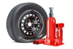 Puncture car wheel with hydraulic bottle jack, 3D rendering. Isolated on white background Stock Photography