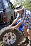 Puncture in the desert Stock Photography