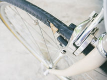 Punctured bicycle tire inner tube. Bicycle wheel parts service stock image