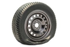 Free Punctured Car Wheel, Flat Tire. 3D Rendering Royalty Free Stock Photography - 113954907