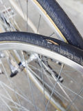 Punctured tire Bicycle wheel parts service Royalty Free Stock Photos
