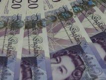 20 pund anmärkningar, Förenade kungariket i London Royaltyfri Bild