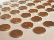 Pund & x28; GBP& x29; mynt, Förenade kungariket & x28; UK& x29; Royaltyfria Foton