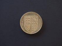 1 pund mynt, Förenade kungariket Royaltyfria Foton