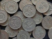 1 pund mynt, Förenade kungariket Arkivbilder