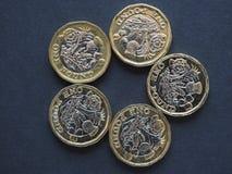 1 pund mynt, Förenade kungariket Royaltyfria Bilder