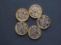 1 pund mynt, Förenade kungariket Royaltyfri Foto