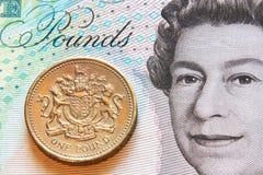 Pund, mynt och sedel Royaltyfri Fotografi