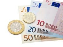 Pund och euro Arkivbilder