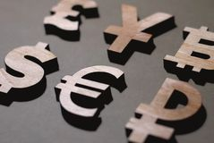 Pund yen, dollar, eurorubel royaltyfria bilder