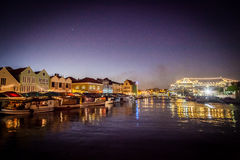 Punda Floating market at dusk. Views around Curacao Caribbean island Stock Images