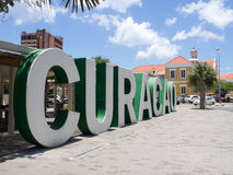 Punda sign. Views around Punda old City  Willemstad Curacao Caribbean Royalty Free Stock Photos