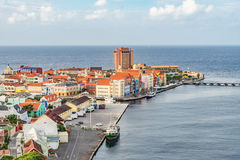 Punda. Views   from the Julianna bridge down to Punda around the Caribbean island of Curacao Royalty Free Stock Image