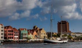 Punda waterfront and a sail boat Stock Photo