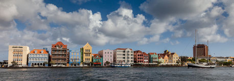 Punda waterfront and a sail boat. Punda Waterfront- Views around Curacao Caribbean island Royalty Free Stock Image