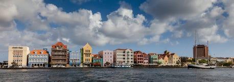 Punda waterfront and a sail boat Royalty Free Stock Image