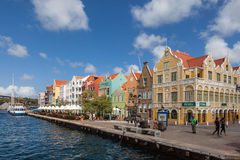Punda waterfront. Punda shopping steet- Views around Curacao Caribbean island Royalty Free Stock Photo