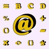 pundtecken, symbol 3D uppsättning för symboler för ord 3D universell för rengöringsduk och mobil stock illustrationer