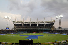 Pune Cricket Stadium. The Subrata Roy Sahara Stadium just outside Pune is lit up for the IPL games there stock photography