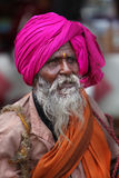 Pune, India  - July 11, 2015: An Indian pilgrim of the hin. Du tradition with a blind eye on his way to a pilgrimmage in India during Wari festival Stock Image