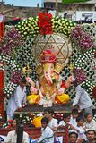 PUNE, INDIA, August 2011, People and devotee with Ganesh idol during Procession. PUNE, INDIA, August 2011, People and devotee with Ganesh idol during Procession royalty free stock photography