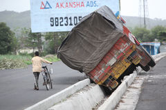 Pune, India - June 27, 2015: An truck that went out of control o Stock Photo
