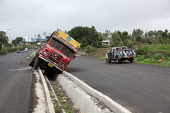 Pune, India - June 27, 2015: An truck that went out of control o Stock Images