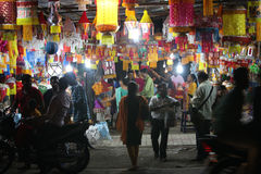 Pune, India - November 7, 2015: People in India shopping for sky. Lanterns on the occasion of Diwali festival in India Stock Photos