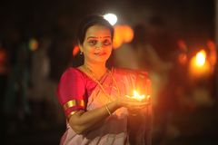 Indian Woman with Lamp in Diwali stock image