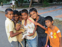 Pune, India - October 7, 2013: Small Indian kids having fun with Royalty Free Stock Photo