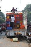 Pune, India - October 21, 2015: Unloading Marigold Stock Image