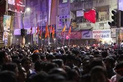 Pune, India - September 28, 2015: Crowds at one of the square du. Ring Ganapati festival in India Stock Image