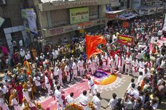 PUNE, INDIA, September 2015, People at Ganesh festival procession during Ganesh Festival. PUNE, INDIA, September 2015, People at Ganesh festival procession royalty free stock images