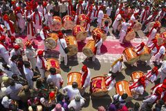 PUNE, INDIA, September 2015, People at Ganesh festival procession during Ganesh Festival. PUNE, INDIA, September 2015, People at Ganesh festival procession royalty free stock photography