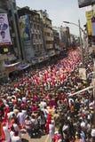 PUNE, INDIA, September 2015, People at Ganesh festival procession during Ganesh Festival. PUNE, INDIA, September 2015, People at Ganesh festival procession royalty free stock photo